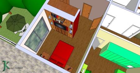 עיצוב של חדר שינה + חדר ארונות | עיצוב פנים