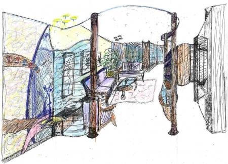 עיצוב של כניסה וסלון (בדירה קטנה | עיצוב פנים