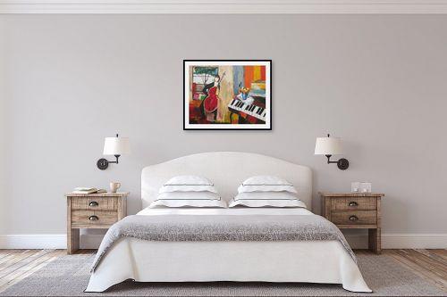 תמונה לחדר שינה - ורד אופיר - אדם וכינור - מק''ט: 112407