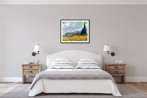 תמונה לחדר שינה - וינסנט ואן גוך - שדה חיטה עם ברושים - מק''ט: 115374