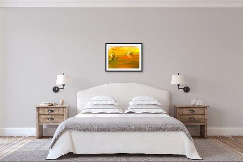 תמונה לחדר שינה - ויקטוריה רייגירה - ציפורים במעוף צהובה - מק''ט: 200961