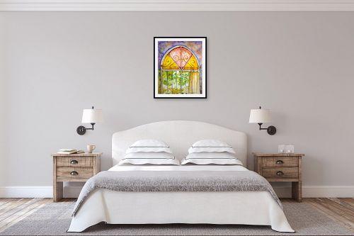 תמונה לחדר שינה - חיה וייט - חלון ירושלמי צבעוני - מק''ט: 213114