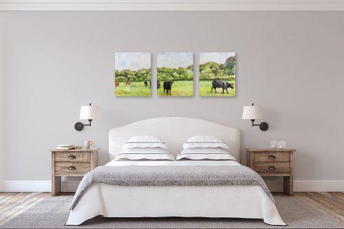 תמונה לחדר שינה - חיה וייט - פרות במרעה - מק''ט: 234258