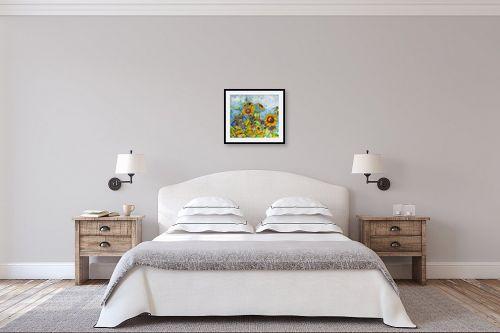 תמונה לחדר שינה - חיה וייט - חמניות - מק''ט: 245335