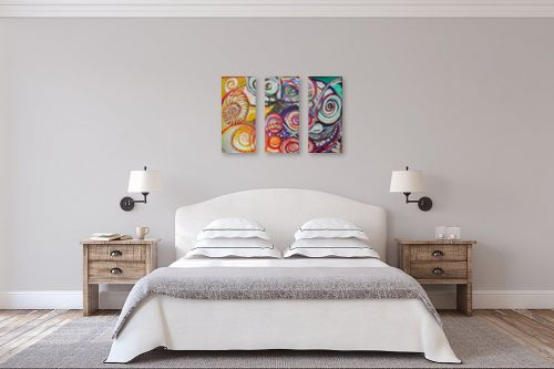תמונה לחדר שינה - אילה ארויו - אבסטרקט מערבולות צבע צבע - מק''ט: 318519