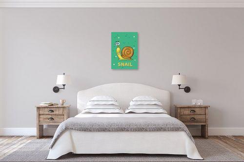 תמונה לחדר שינה - חנן אביסף - שבלול חמוד על רקע ירוק - מק''ט: 326518