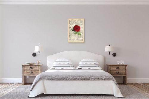 תמונה לחדר שינה - Artpicked - שושנה רטרו על טקסט - מק''ט: 330182