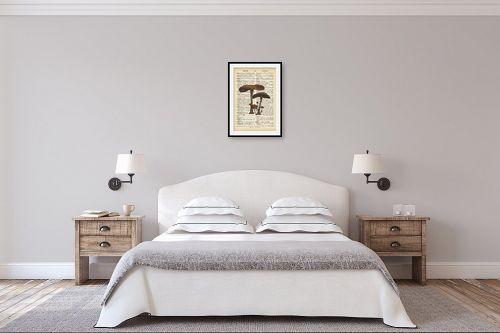 תמונה לחדר שינה - Artpicked - פיטריות2 רטרו על טקסט - מק''ט: 330219