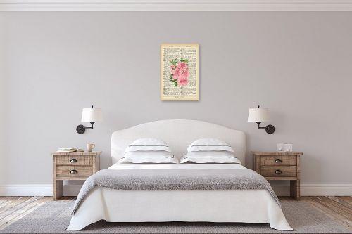 תמונה לחדר שינה - Artpicked - זר ורוד רטרו על טקסט - מק''ט: 330424