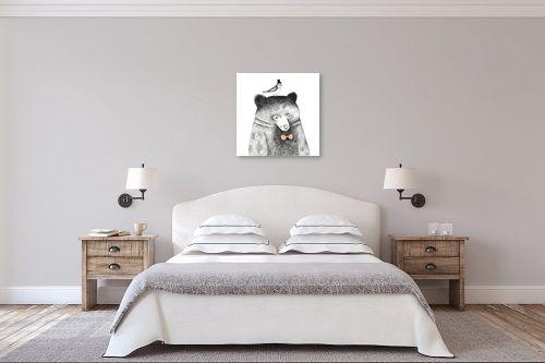 תמונה לחדר שינה - Artpicked - דב וציפור - מק''ט: 331684