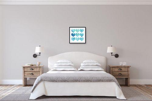 תמונה לחדר שינה - Artpicked - אקוורל לבבות - מק''ט: 332542