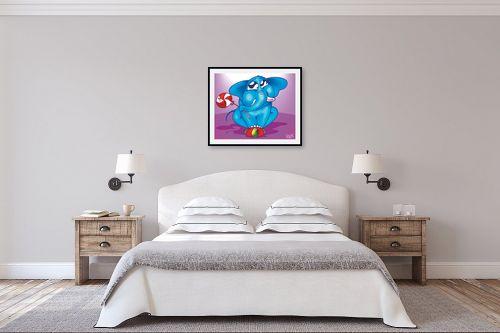 תמונה לחדר שינה - חנן אביסף - פיל כחול על כדור - מק''ט: 53165