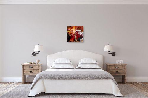 תמונה לחדר שינה - נעמי פוקס משעול - פריחה בזהב ובורדו - מק''ט: 82062