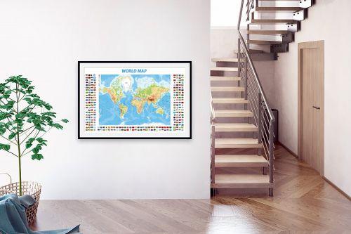 תמונה לבית - מפות העולם - World Map with flags - מק''ט: 198960