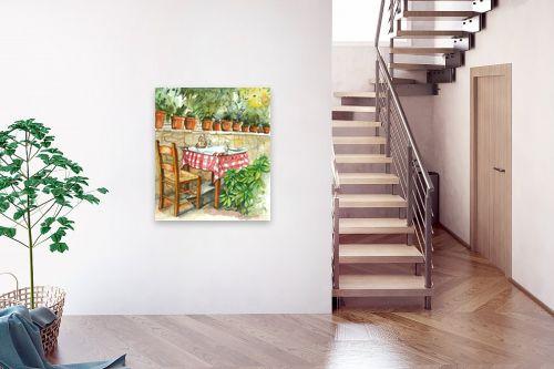 תמונה לבית - חיה וייט - שולחן ועציצי בזיליקום - מק''ט: 213223