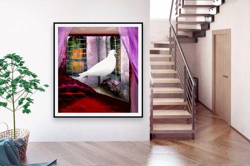 תמונה לבית - נריה איטקין - יונה לבנה בחלון - מק''ט: 229845