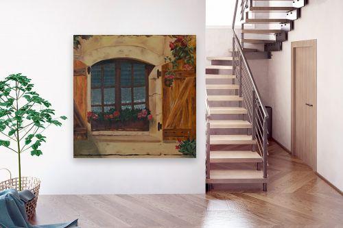תמונה לבית - אסתר טל - גרניום בחלון - מק''ט: 316233