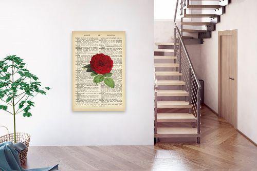 תמונה לבית - Artpicked - שושנה רטרו על טקסט - מק''ט: 330182