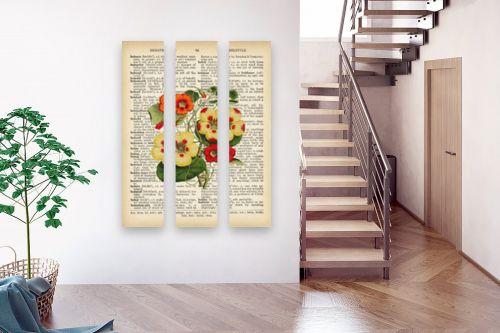 תמונה לבית - Artpicked - צמח אדום לבן רטרו על טקסט - מק''ט: 330217