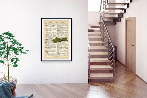 תמונה לבית - Artpicked - עלה ירוק רטרו על טקסט - מק''ט: 330255