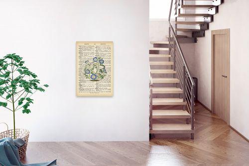 תמונה לבית - Artpicked - צמח סגול רטרו על טקסט - מק''ט: 330420