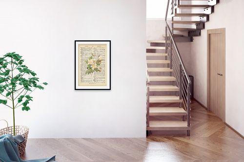 תמונה לבית - Artpicked - זר לבן רטרו על טקסט - מק''ט: 330422