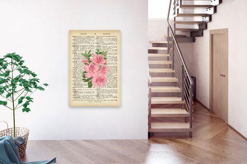 תמונה לבית - Artpicked - זר ורוד רטרו על טקסט - מק''ט: 330424
