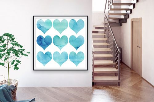 תמונה לבית - Artpicked - אקוורל לבבות - מק''ט: 332542