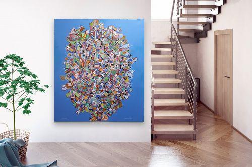 תמונה לבית - חיים מחט - פרחים קוביסטים - מק''ט: 336569