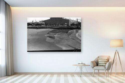 תמונה לבית - דוד לסלו סקלי - תל אביב 1937 משאיות בנמל - מק''ט: 153247