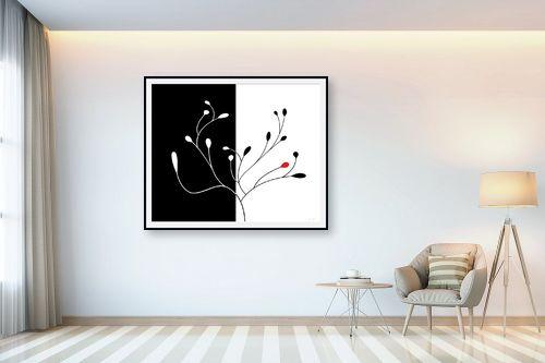 תמונה לבית - נעמי עיצובים - שלכת שני חלקים שחור לבן - מק''ט: 157605