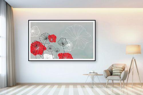 תמונה לבית - נעמי עיצובים - פרחי מים אפור - מק''ט: 160918
