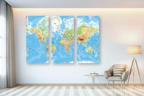 תמונה לבית - מפות העולם - מפה של העולם פיזית - מק''ט: 198956