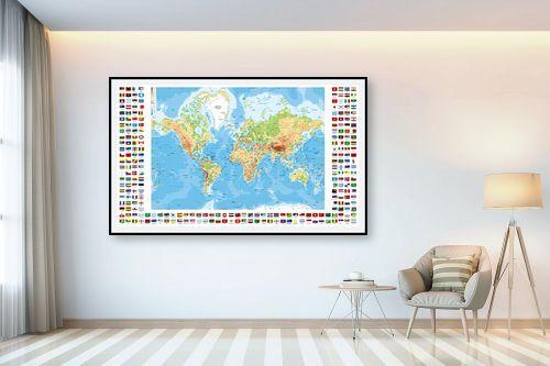 תמונה לבית - מפות העולם - מפת העולם עם דגלי ארצות - מק''ט: 198959