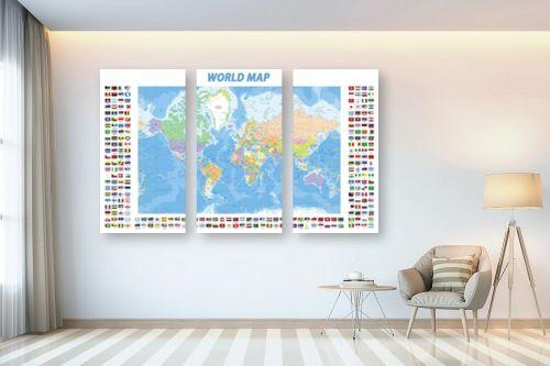 תמונה לבית - מפות העולם - World map with flags - מק''ט: 201306