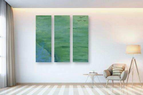 תמונה לבית - אירית שרמן-קיש - ציפורים ברקיע ירוק - מק''ט: 275457