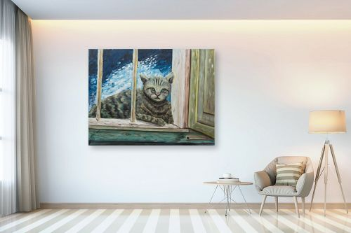 תמונה לבית - דיאנה אורן - חתולה בחלוני - מק''ט: 315861