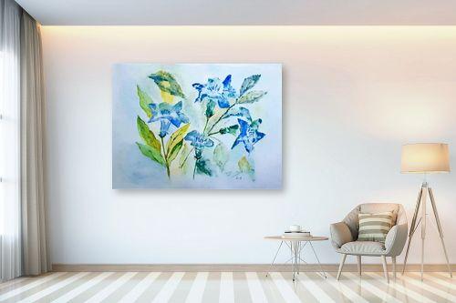 תמונה לבית - רינה יניב - פרחים בכחול - מק''ט: 327826