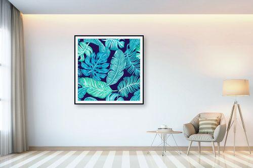 תמונה לבית - Artpicked - עלים בכחול - מק''ט: 329674