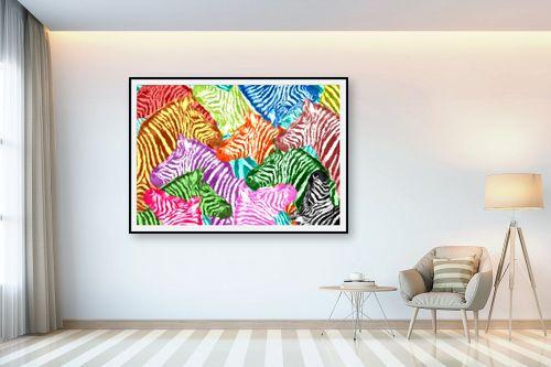 תמונה לבית - Artpicked - זברות בצבעים - מק''ט: 329701