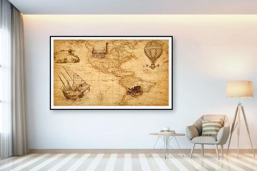 תמונה לבית - מפות העולם - מפת עולם רטרו - מק''ט: 333004