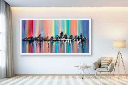 תמונה לבית - Artpicked - נוף צבעוני של עיר - מק''ט: 334693