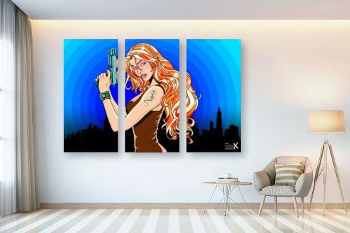 תמונה לבית - חנן אביסף - Gun girl blue orange - מק''ט: 52126