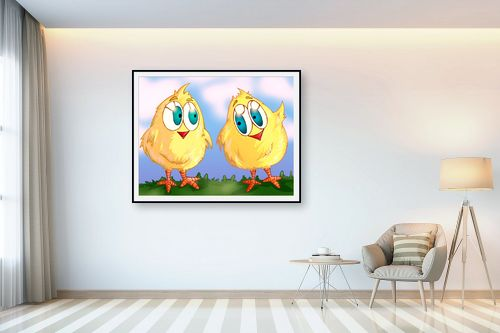 תמונה לבית - חנן אביסף - שני אפרוחים צהובים - מק''ט: 53173