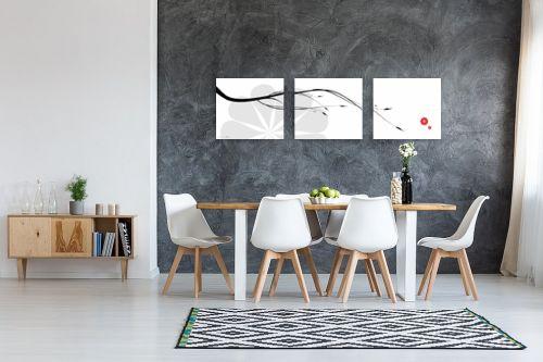 תמונה לבית - נעמי עיצובים - ענף יפני רקע לבן - מק''ט: 159884