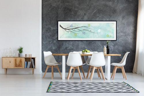 תמונה לבית - נעמי עיצובים - ענף בשלכת רקע תכלת - מק''ט: 164755