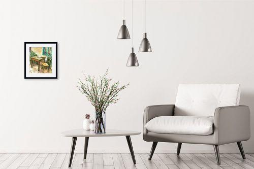 תמונה לבית - חיה וייט - שולחן, כסאות ועיתון - מק''ט: 213228