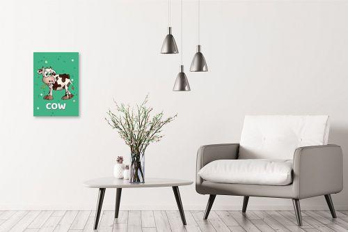 תמונה לבית - חנן אביסף - פרה חמודה על רקע ירוק - מק''ט: 326519