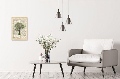 תמונה לבית - Artpicked - עץ ירוק ורוד רטרו על טקסט - מק''ט: 330044