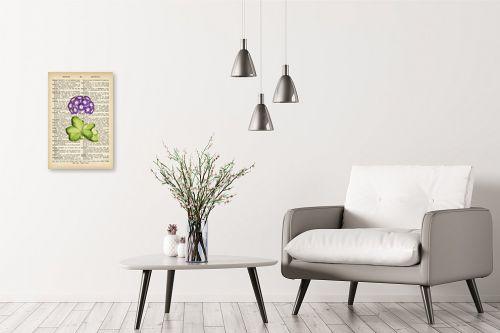 תמונה לבית - Artpicked - ורד סגול רטרו על טקסט - מק''ט: 330187